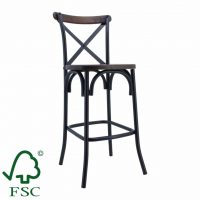 Gun Metal Cross Back Stool in Walnut Timber