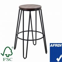 Tall Hairpin Stool in Black with Timber Seat